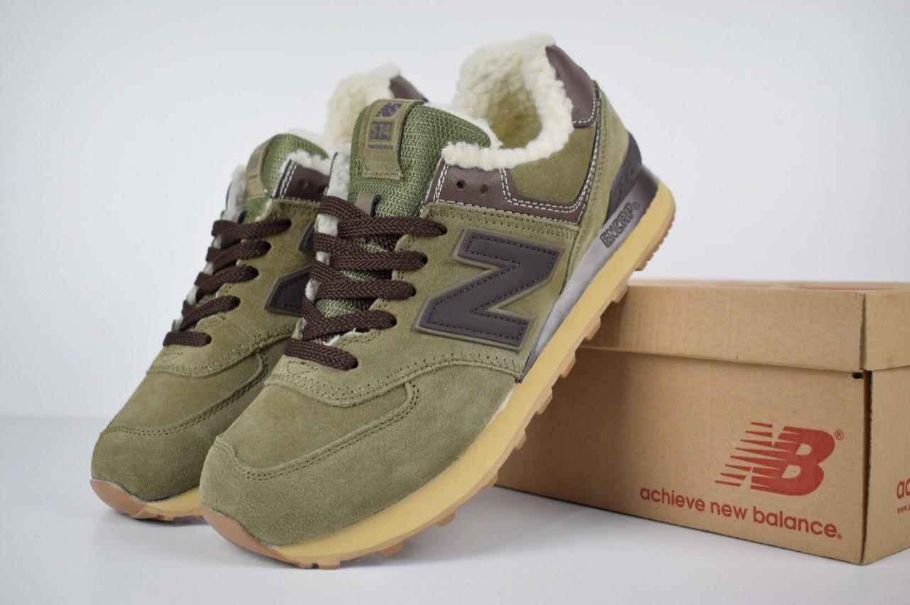 Мужские зимние кроссовки New Balance 574 (зелено-коричневые)