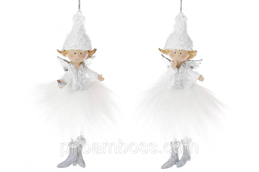 Фигурка подвесная Ангел в меховой юбке, 6см, 2 вида, цвет - белый с серебром, упаковка 6 шт.