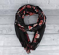 Шикарный кашемировый шарф, палантин Cashmere 7580-5 черный цветочный, расцветки, фото 1