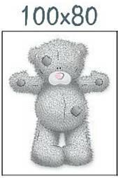 """Панелька из сатина для детского пледа """"Мишка Тедди с розовым носом"""" 80*100 см"""