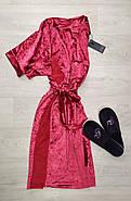 Красный женский бархатный  халат, фото 3