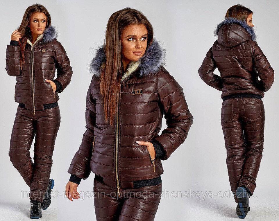 Зимний женский спортивный костюм, размеры: S, M, L, цвета - черный, мята, шоколад, синий
