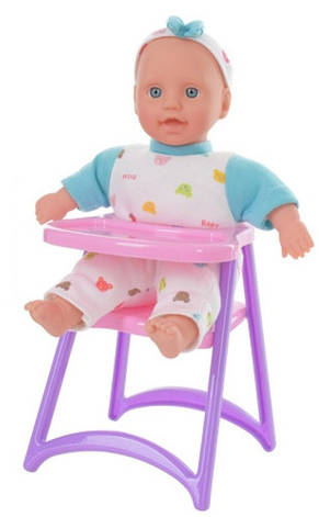 Пупс DEFA 5089 мягконабивной,24см,стульчик для кормления, в кор-ке,17-28-14см, фото 2