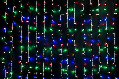 Внешняя LED гирлянда Штора Дождь Водопад 3х2 метра Мульти Цветной, 480  Ламп прозрачный силикон, 8 режимов