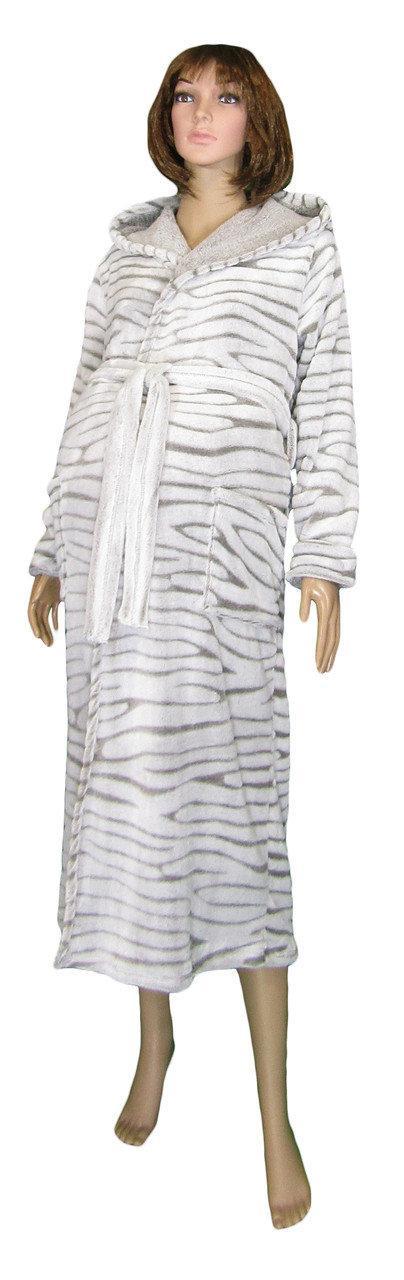 Халат махровий 03517-2 Софт / Шиншила довгий для вагітних, в пологовий будинок великі розміри