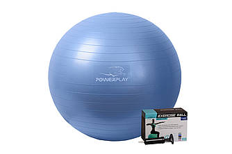 М'яч для фітнесу PowerPlay 4001 65см Синій + насос