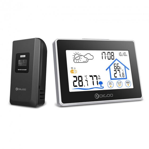 Метеостанція Digoo DG-TH8380 гігрометр/термометр з великим сенсорним дисплеєм і підсвічуванням + датчик