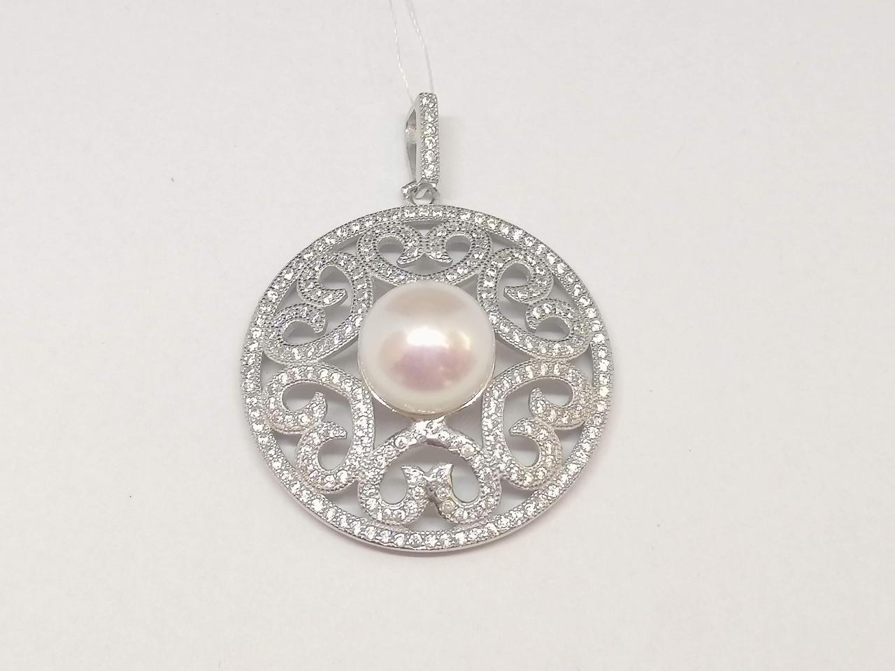 Срібна підвіска з фіанітами і перлами. Артикул В10451
