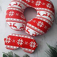 """Дорожна подушка """" Новорічна"""" +маска для сну в подарунок"""