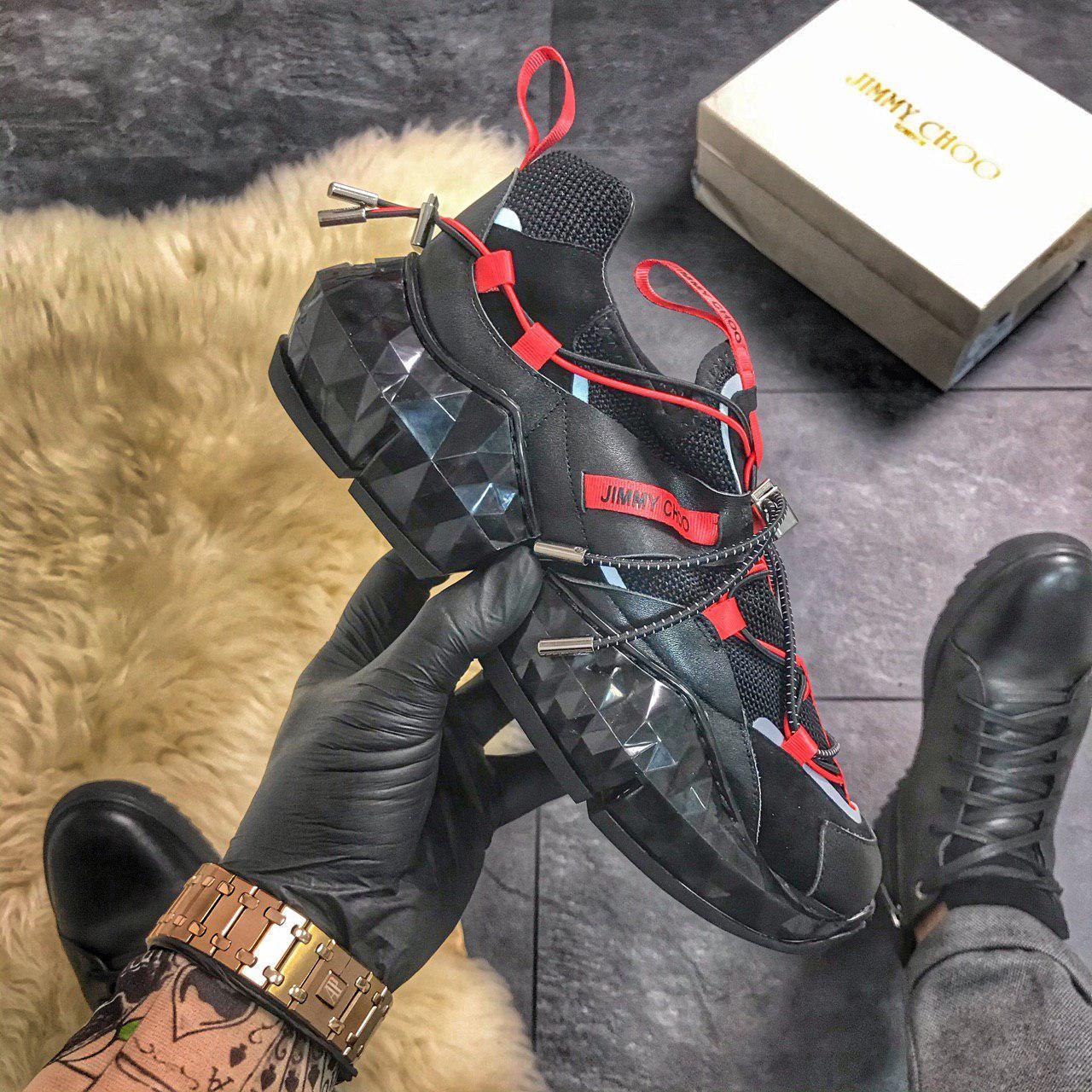 """Женские кроссовки в стиле Jimmy Choo Diamond """"Black/Red"""""""