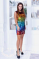 Женское яркое платье радуга из паетки