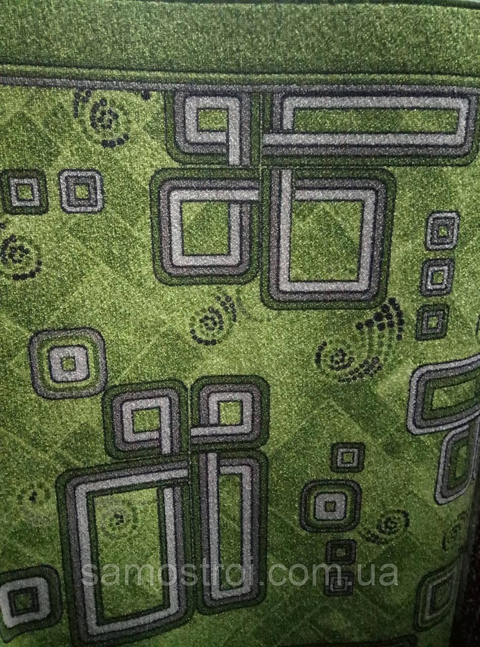 Ковровая дорожка зеленая в серый прямоугольник 1,5 м