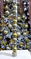 Набор новогодних шаров (пластик) 12 шт, диаметр 50 мм. Цвет золото.
