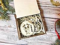 """Набор деревянных новогодних игрушек """"Символ 2020 года (№1)"""" в коробочке 9 шт Светлое дерево, фото 2"""