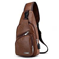 Мужская сумка-рюкзак на одно плечо кросс-боди, экокожа, коричневая