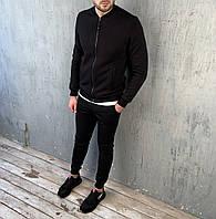 Мужской спортивный костюм однотонный черный с манжетами