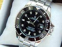 Механические наручные часы Rolex Submariner (Ролекс) на стальном браслете, серебро, черный циферблат, CW423