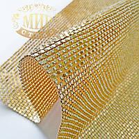 Термополотно алюминиевое со стразами Crystal, металл-золото, 1х45см