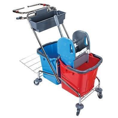 Візок для прибирання на 2 відра (2*18л) з віджимом та пакетом для сміття CK759-T
