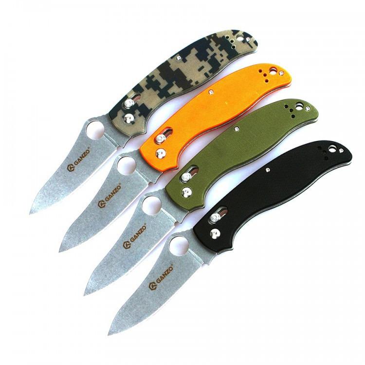Нож складной Ganzo G733 (черный, зеленый, оранжевый, камуфляж)