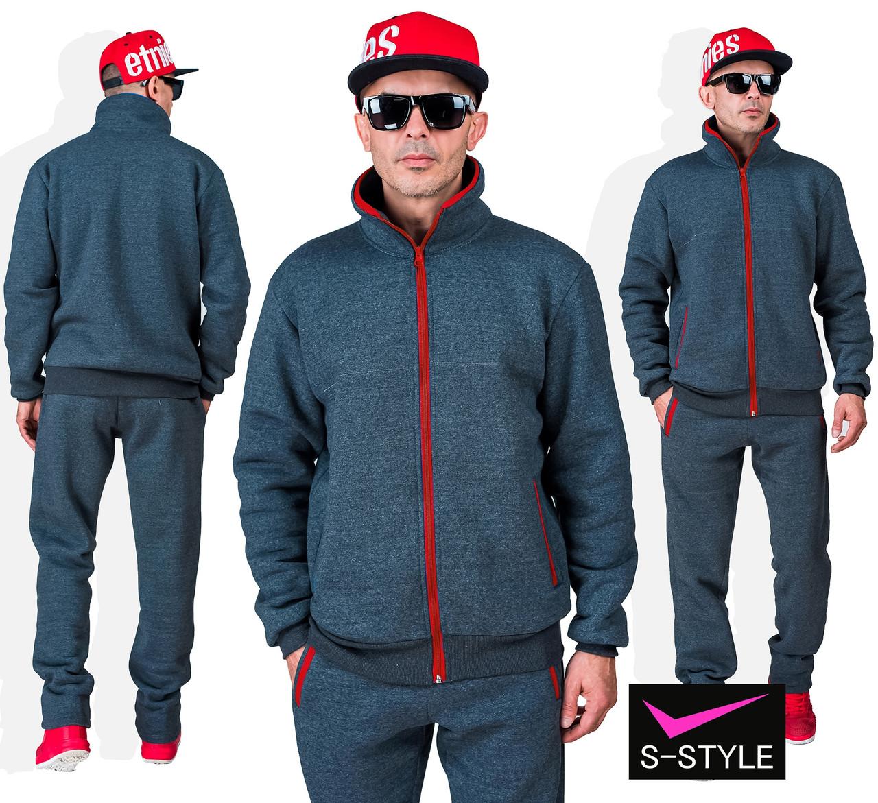 Мужской спортивный костюм на флисе  46-56 р графит+красный