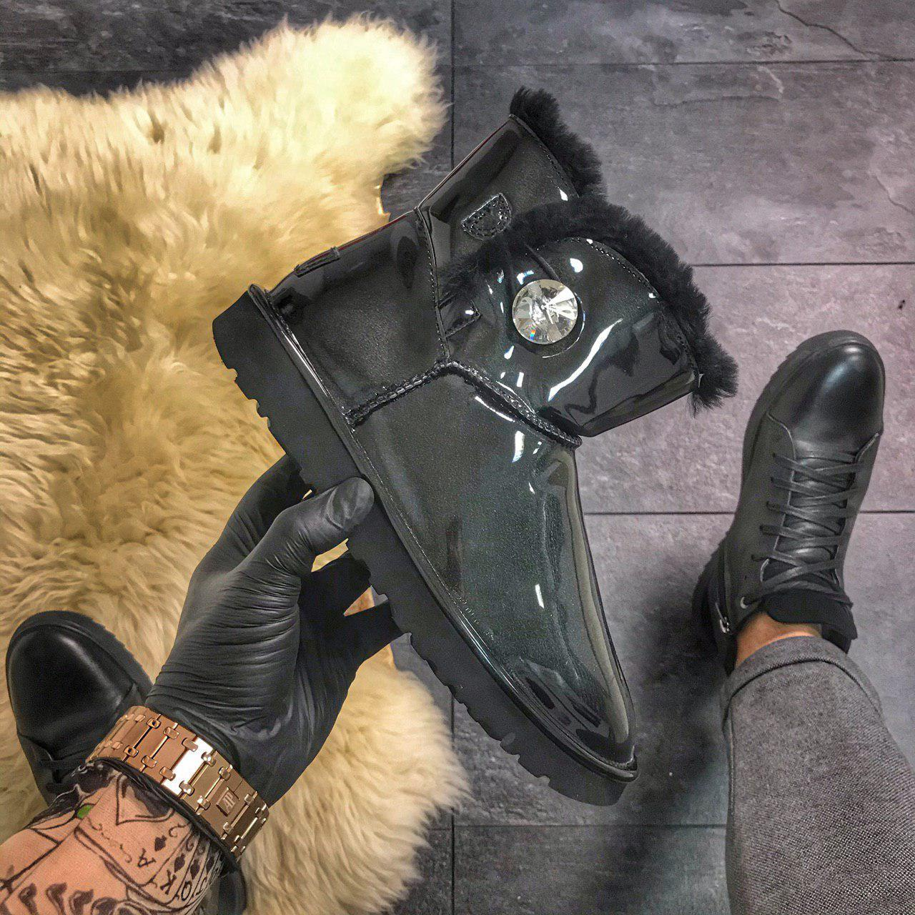UGG Black Patent Button