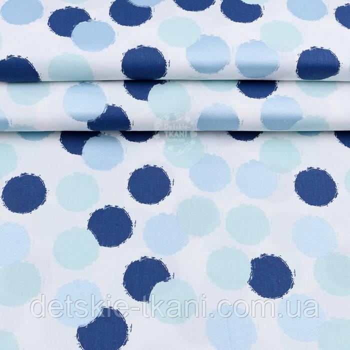 """Лоскут поплина с глиттерным рисунком """"Голубые, мятные и синие круги"""" на белом №1956, размер 24*120 см"""