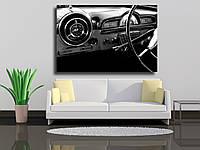 """Картины на холсте """"Вид интерьера старинного автомобиля в черно-белом"""""""
