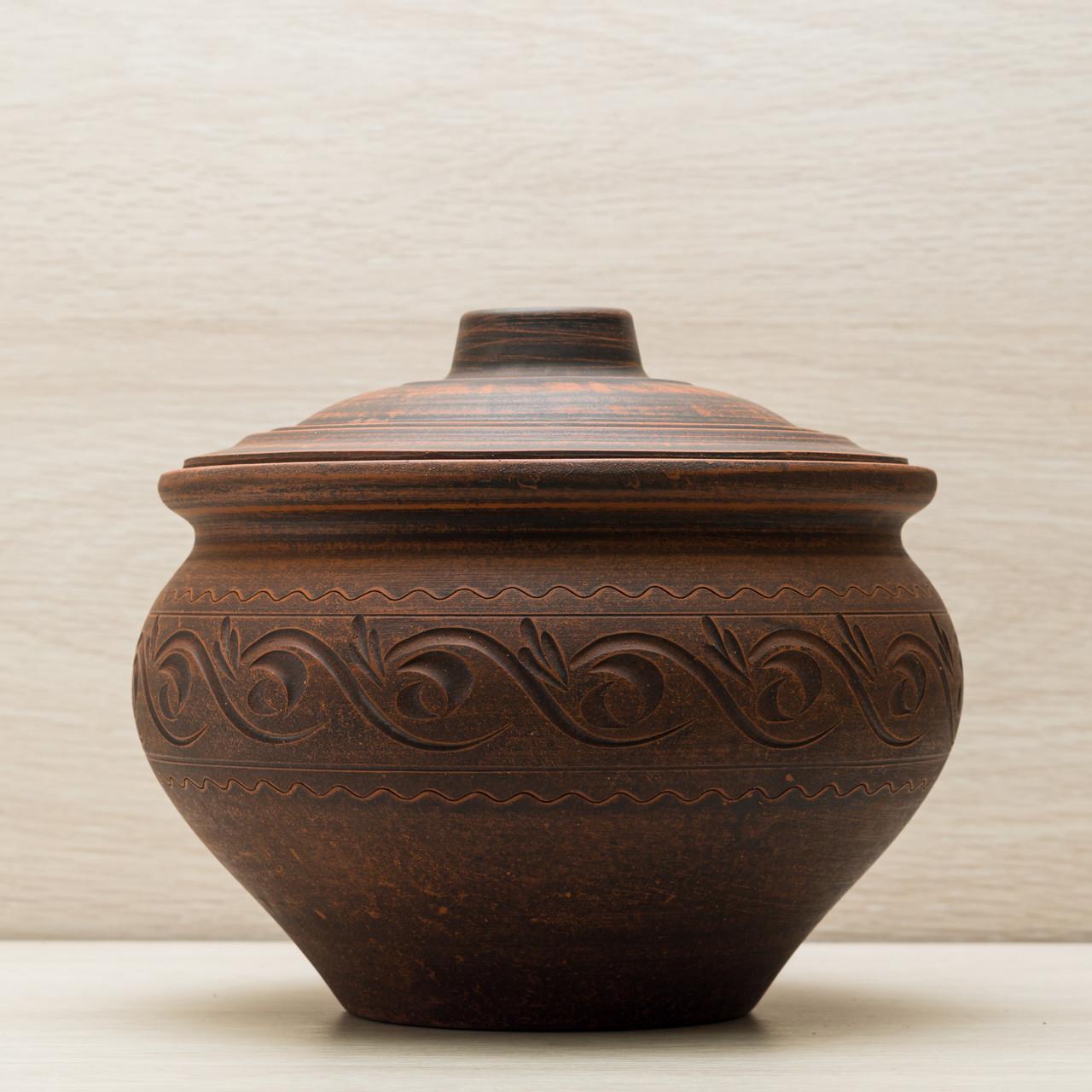 Супник из красной глины 2.5л декор резка