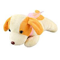 Мягкая игрушка собачка с розовым бантиком высота 13 см 23х27 см молочная с желтыми ушками (41201.001)