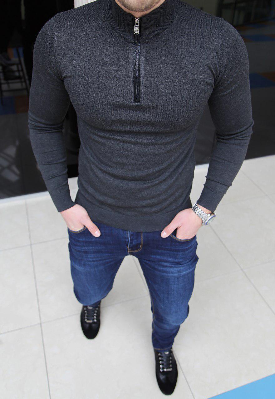 Мужская кофта Billionaire H0149 темно-серая