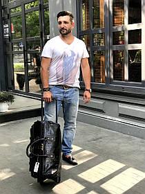 Кожаная сумка на колесах Саквояж Reform Deri 302 черный