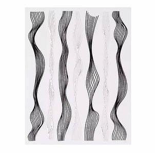 Наклейка гибкая лента волна, черная-серебро