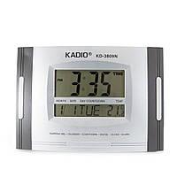 Цифровые часы Kadio (KD-3809N), Серые, настольные часы электронные, часы будильник |