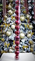 Набор новогодних шаров (пластик) 12 шт, диаметр 50 мм. Цвет красный., фото 1