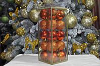 Набор шаров на елку  (пластик), диаметр 40, 20 шт. Цвет оранжевый., фото 1