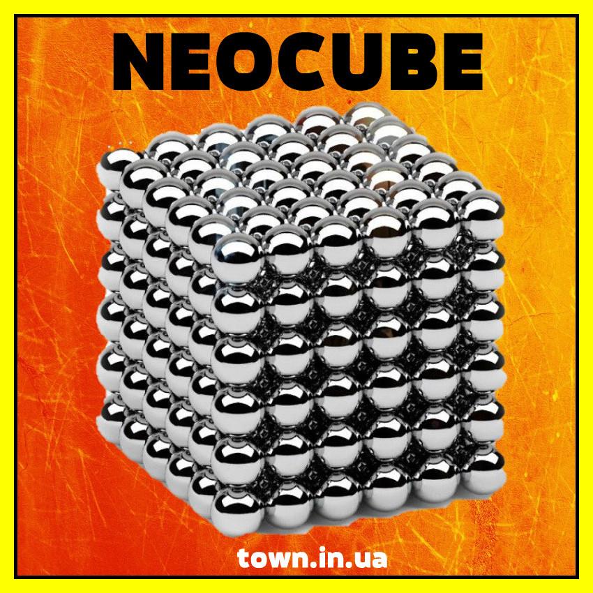 Конструктор головоломка Neocube Silver 216 неодимовых шариков в боксе магнитный нео куб серебристый 5мм