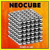 Конструктор головоломка Neocube Silver 216 неодимовых шариков в боксе магнитный нео куб серебристый 5мм, фото 1