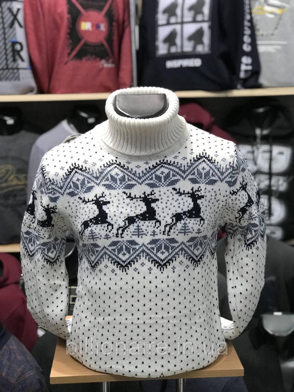 Стильний теплий новорічний чоловічий гольф