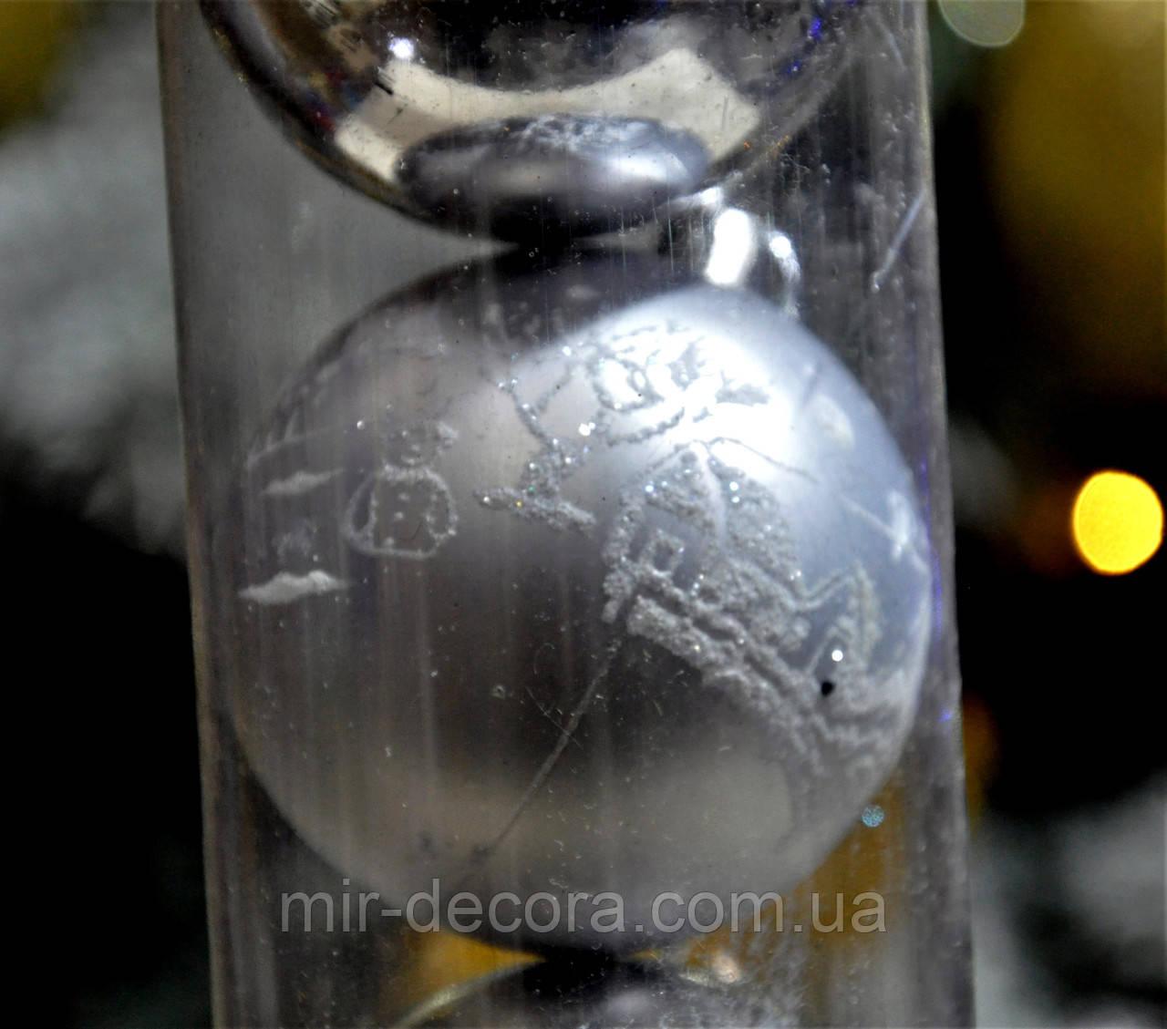 """Набор шаров на елку """"Пейзаж"""" (пластик), диаметр 60, 6 шт. Цвет серебро."""