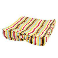 Подушка для стульев 40х40 см в полоску желтую голубую оранжевую и коричневую (47501.004)
