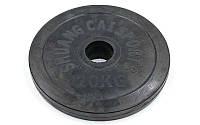 Блины черные обрезиненные 20кг (диам. 52мм) ТА-1449