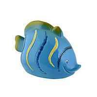Копилка керамическая рыбка 10х15х8 см синяя (41902.001)