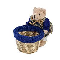 Корзинка для рукоделия 14 см соломенная с мишкой (42002.001)