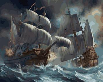 Картина по номерам 40×50 см. Babylon Сражение кораблей во время шторма (VP-257)