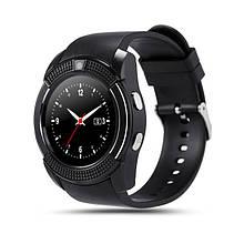 Умные смарт-часы Smart Watch V8 ЧЕРНЫЕ С СЕРЕБРЯНЫМ ОБОДКОМ