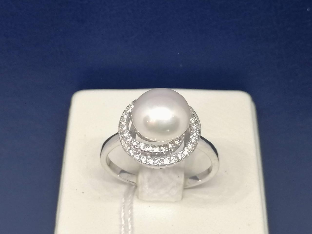 Срібне кільце з перлами і фіанітами. Артикул А14180 18,5