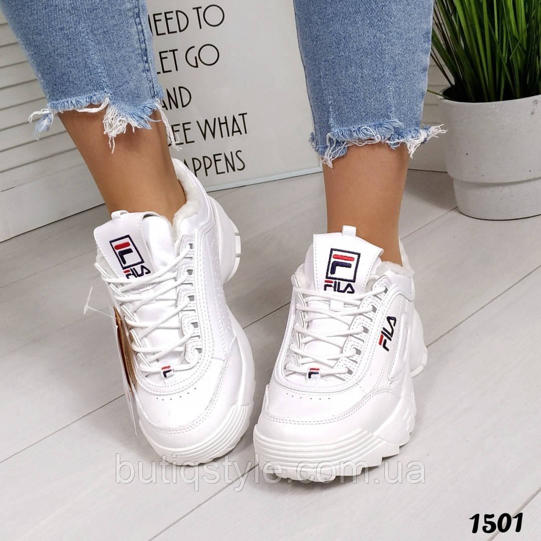 Зимние белые кроссовки натуральная кожа на платформе