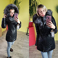 Куртка женская зимняя из экокожи с мехом чернобурки 80 см черная ЭКК-01