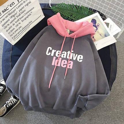 Модное двухцветное женское худи на флисе Creative Idea 42-46 р, фото 2